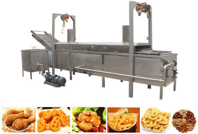 Automatic onion rings frying machine