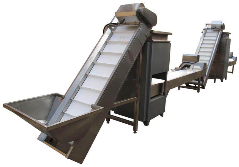Automatic peeled garlic processing line