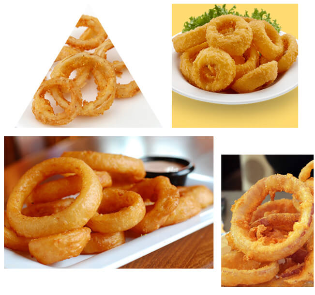 fried onion rings by onion fryer machine