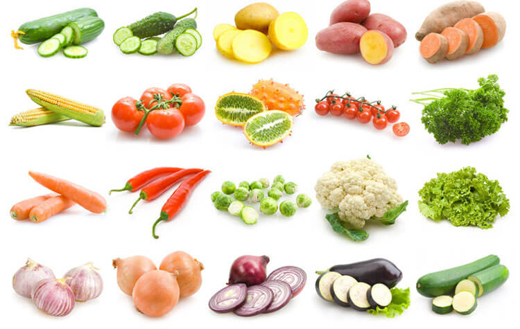 vegetables and fruit for ginger garlic slicing machine application