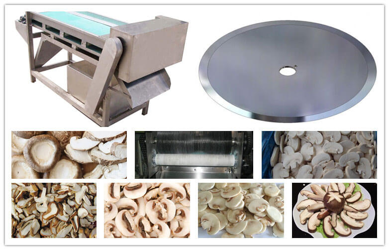 sliced mushrooms cut by automatic mushroom slicer