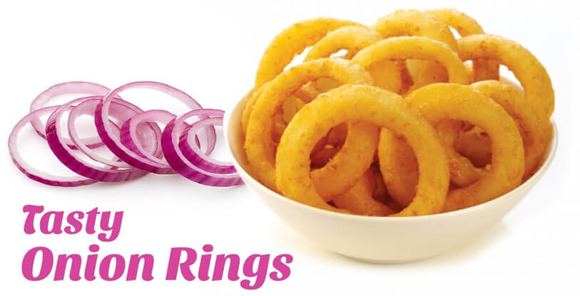 tasty onion rings made by automatic fried onion rings production line