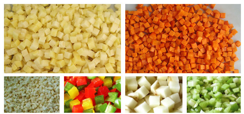 vegetable cubes cut by electric vegetable dicing machine