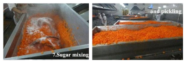 sugar mixing and pickling of carrot chips
