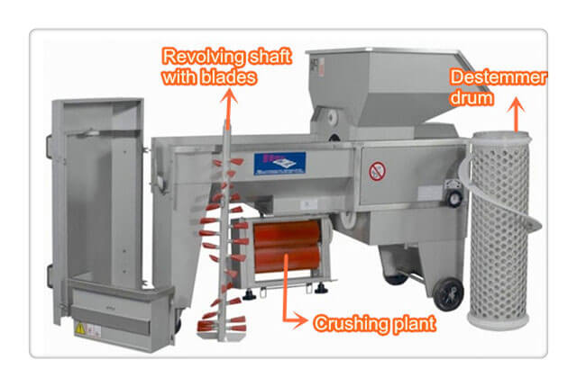 detailed structure of grape-destemming crushing machine