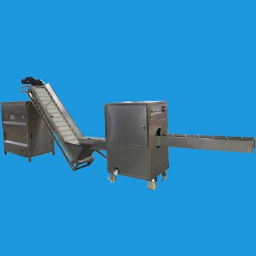 onion peeling and root cutting machine line